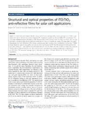 Vol 9: Structural and optical properties of ITO-TiO2 anti-reflective films for solar cell applications.