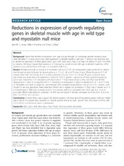 Vol 14: Reductions in expression of growth regulating genes in skeletal muscle with age in wild type and myostatin null mice.