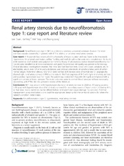 Vol 19: Renal artery stenosis due to neurofibromatosis type 1: case report and literature review.