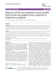 Vol 7: Relevance of the two-component sensor protein CiaH to acid and oxidative stress responses in Streptococcus pyogenes.