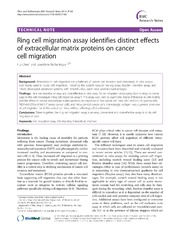 Vol 7: Ring cell migration assay identifies distinct effects of extracellular matrix proteins on cancer cell migration.
