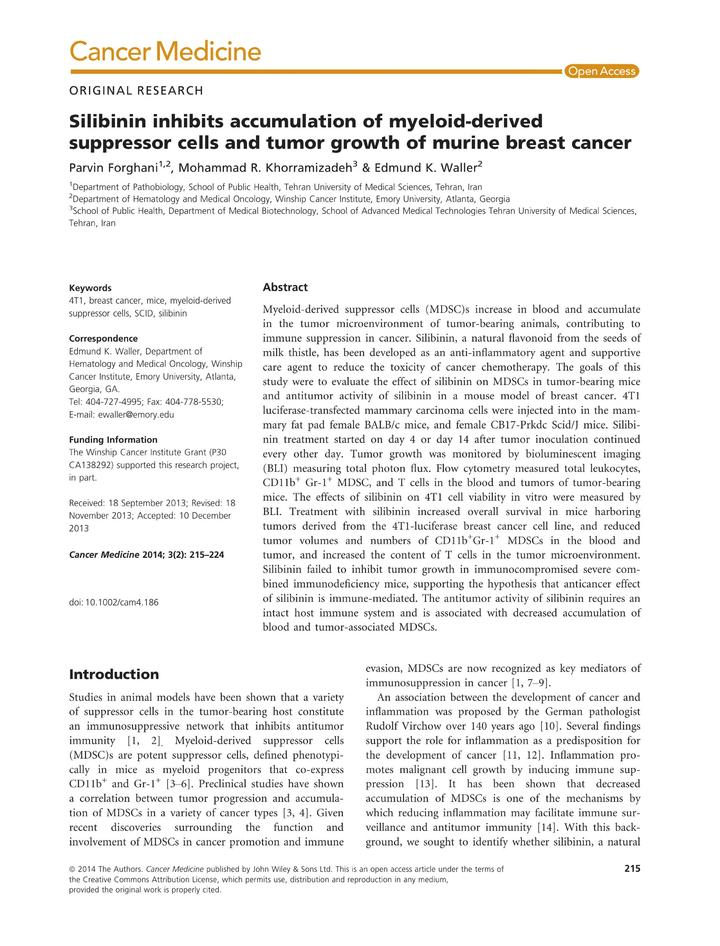 Vol 3: Silibinin inhibits accumulation of myeloid-derived suppressor cells and tumor growth of murine breast cancer.