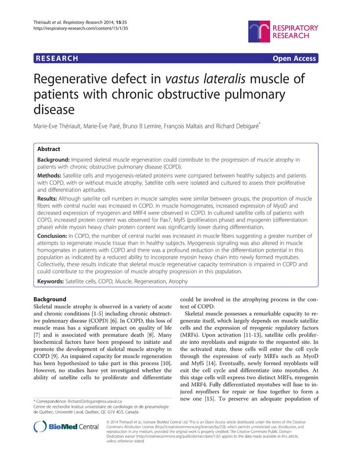 Vol 15: Regenerative defect in vastus lateralis muscle of patients with chronic obstructive pulmonary disease.