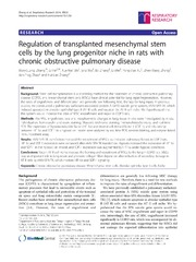 Vol 15: Regulation of transplanted mesenchymal stem cells by the lung progenitor niche in rats with chronic obstructive pulmonary disease.