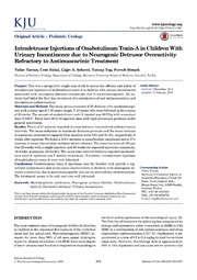 Vol 55: Intradetrusor Injections of Onabotulinum Toxin-A in Children With Urinary Incontinence due to Neurogenic Detrusor Overactivity Refractory to Antimuscarinic Treatment.
