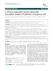 Vol 14: A 10-year population-based nationwide descriptive analysis of pediatric emergency care.