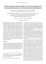 Vol 2: Plasma microRNA-320, microRNA-let-7e and microRNA-21 as novel potential biomarkers for the detection of retinoblastoma.