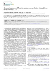 Vol 2: Genome Sequences of Two Pseudoalteromonas Strains Isolated from the South China Sea.