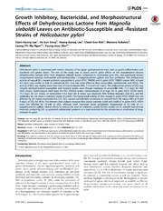 Vol 9: Growth Inhibitory, Bactericidal, and Morphostructural Effects of Dehydrocostus Lactone from Magnolia sieboldii Leaves on Antibiotic-Susceptible and -Resistant Strains of Helicobacter pylori.