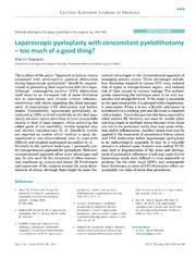 Vol 66: Laparoscopic pyeloplasty with concomitant pyelolithotomy - too much of a good thing