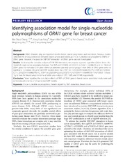 Vol 14: Identifying association model for single-nucleotide polymorphisms of ORAI1 gene for breast cancer.