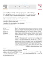 Vol 76: Liposome Bupivacaine for Postsurgical Analgesia in Adult Patients Undergoing Laparoscopic Colectomy: Results from Prospective Phase IV Sequential Cohort Studies Assessing Health Economic Outcomes☆.