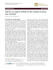 Vol 2: Call for an urgent rethink of the health at every size concept.