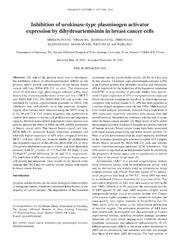 Vol 7: Inhibition of urokinase-type plasminogen activator expression by dihydroartemisinin in breast cancer cells.