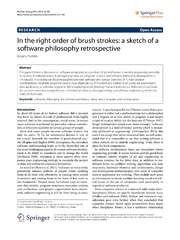 Vol 3: In the right order of brush strokes: a sketch of a software philosophy retrospective.