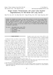 Vol 47: Single Incision Thoracoscopic Left Lower Lobe Superior Segmentectomy for Non-Small Cell Lung Cancer.