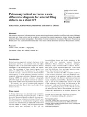 Vol 3: Pulmonary intimal sarcoma: a rare differential diagnosis for arterial filling defects on a chest CT.