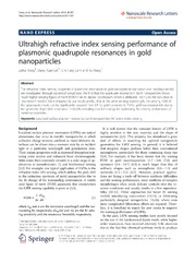 Vol 9: Ultrahigh refractive index sensing performance of plasmonic quadrupole resonances in gold nanoparticles.