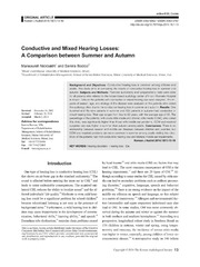 Vol 18: Conductive and Mixed Hearing Losses: A Comparison between Summer and Autumn.