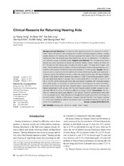 Vol 18: Clinical Reasons for Returning Hearing Aids.