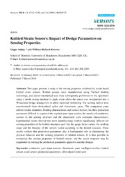Vol 14: Knitted Strain Sensors: Impact of Design Parameters on Sensing Properties.