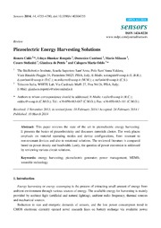 Vol 14: Piezoelectric Energy Harvesting Solutions.