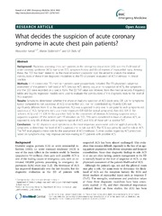 Vol 14: What decides the suspicion of acute coronary syndrome in acute chest pain patients