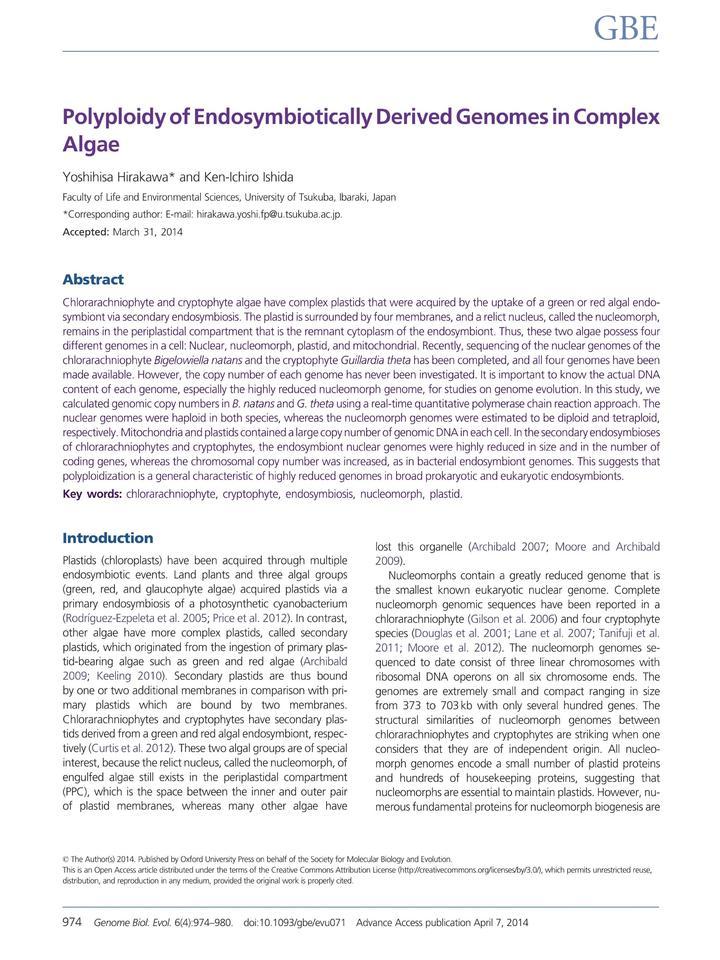 Vol 6: Polyploidy of Endosymbiotically Derived Genomes in Complex Algae.