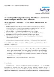 Vol 3: In Vitro High Throughput Screening, What Next Lessons from the Screening for Aurora Kinase Inhibitors.
