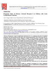 Vol 6: Prognostic Value of Protease Activated Receptor-1 in Children with Acute Lymphoblastic Leukemia.