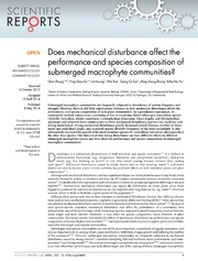 Vol 4: Does mechanical disturbance affect the performance and species composition of submerged macrophyte communities