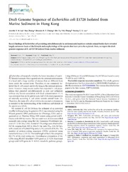 Vol 2: Draft Genome Sequence of Escherichia coli E1728 Isolated from Marine Sediment in Hong Kong.