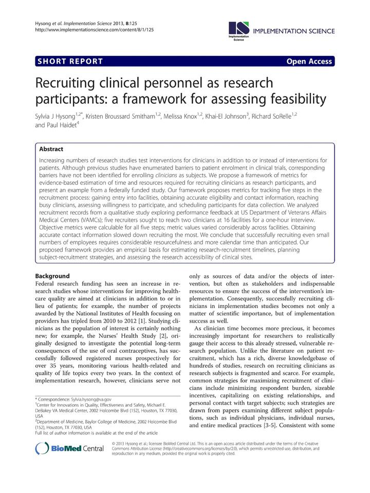 Vol 8: Recruiting clinical personnel as research participants: a framework for assessing feasibility.