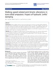 Vol 10: Walking speed related joint kinetic alterations in trans-tibial amputees: impact of hydraulic ankle damping.