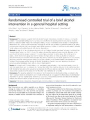 Vol 14: Randomised controlled trial of a brief alcohol intervention in a general hospital setting.