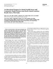Vol 35: An Educational Program for Mental Health Nurses and Community Health Workers from Pacific Island Countries: Results from a Pilot Study.