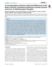 Vol 9: A Correspondence between Individual Differences in the Brain-s Intrinsic Functional Architecture and the Content and Form of Self-Generated Thoughts.