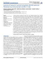 Vol 8: Lesions of lateral or central amygdala abolish aversive Pavlovian-to-instrumental transfer in rats.