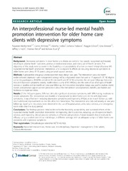 Vol 14: An interprofessional nurse-led mental health promotion intervention for older home care clients with depressive symptoms.