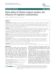 Vol 14: Work ability of Chinese migrant workers: the influence of migration characteristics.