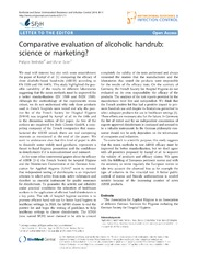 Vol 3: Comparative evaluation of alcoholic handrub: science or marketing
