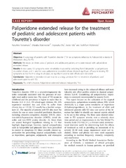 Vol 13: Paliperidone extended release for the treatment of pediatric and adolescent patients with Tourettes disorder.