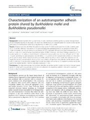Vol 14: Characterization of an autotransporter adhesin protein shared by Burkholderia mallei and Burkholderia pseudomallei.