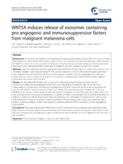 Vol 13: WNT5A induces release of exosomes containing pro-angiogenic and immunosuppressive factors from malignant melanoma cells.
