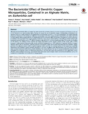 Vol 9: The Bactericidal Effect of Dendritic Copper Microparticles, Contained in an Alginate Matrix, on Escherichia coli.