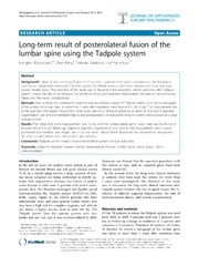 Vol 9: Long-term result of posterolateral fusion of the lumbar spine using the Tadpole system.