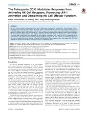 Vol 9: The Tetraspanin CD53 Modulates Responses from Activating NK Cell Receptors, Promoting LFA-1 Activation and Dampening NK Cell Effector Functions.