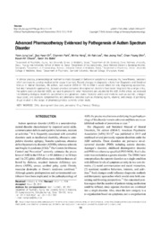Vol 12: Advanced Pharmacotherapy Evidenced by Pathogenesis of Autism Spectrum Disorder.