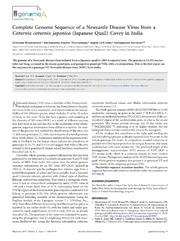 Vol 2: Complete Genome Sequence of a Newcastle Disease Virus from a Coturnix coturnix japonica (Japanese Quail) Covey in India.