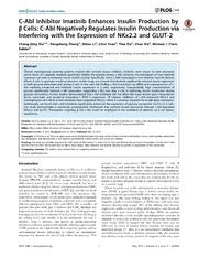 Vol 9: C-Abl Inhibitor Imatinib Enhances Insulin Production by Cells: C-Abl Negatively Regulates Insulin Production via Interfering with the Expression of NKx2.2 and GLUT-2.